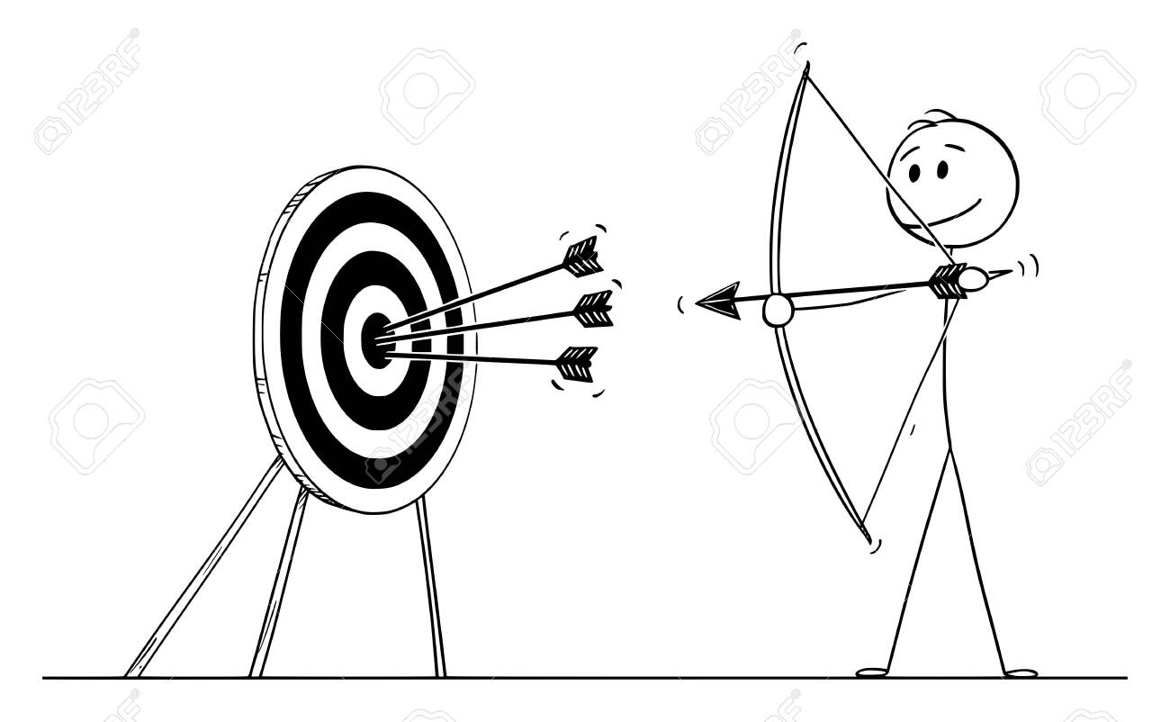 Vector cartoon stick figure drawing conceptual illustration of successful man or businessman shooting arrow at target with bow. Business concept of pointing at goal or success. - 133360715