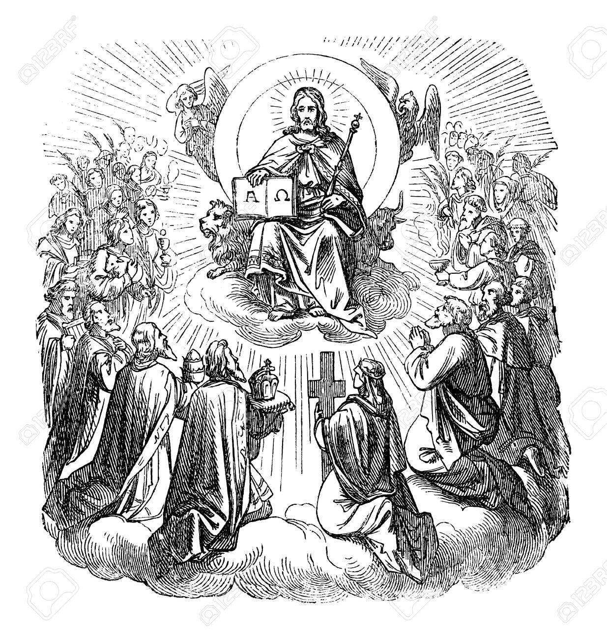 Antique vintage biblical religious engraving or drawing of Jesus Christ sitting as king on throne in heaven surrounded by apostles and believers.Bible, New Testament,Biblische Geschichte , Germany 1859. - 138430782