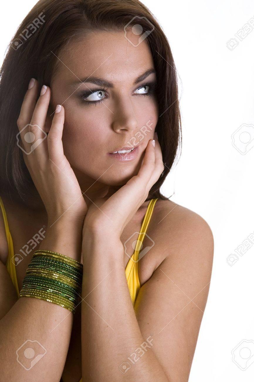 Blue eyes yellow dress model