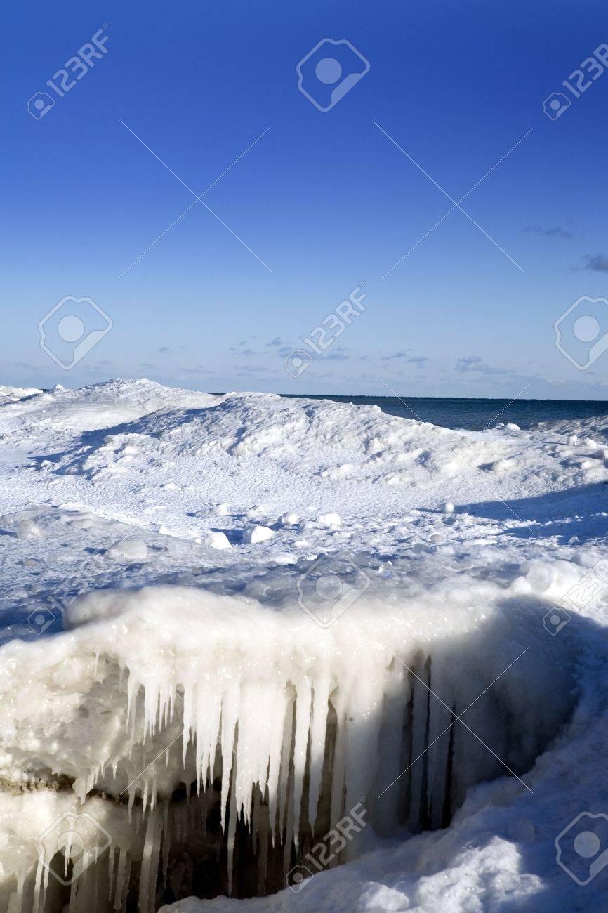 beautiful winter nature scene snow and ice around ocean stock