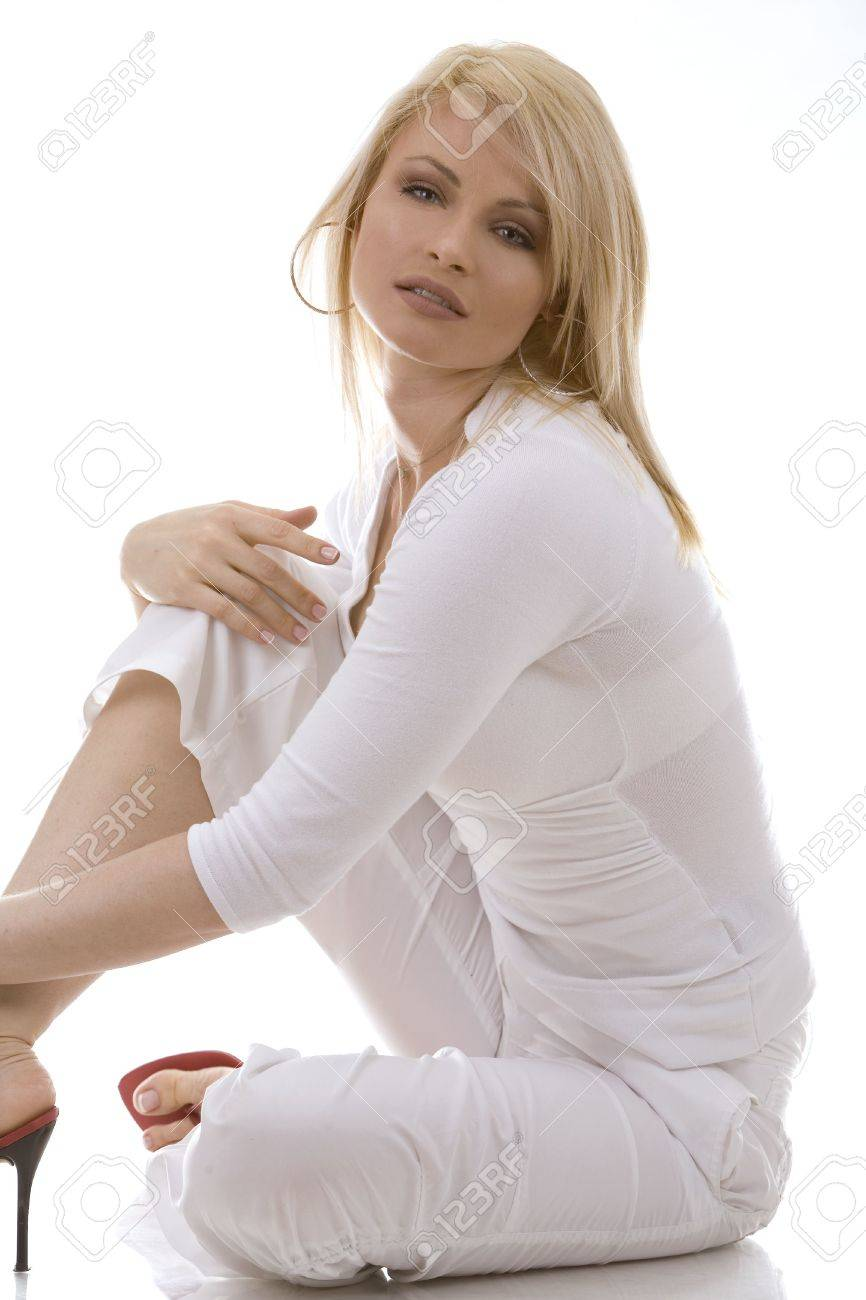 pretty russian woman wearing white outfit on white background Stock Photo - 1118155