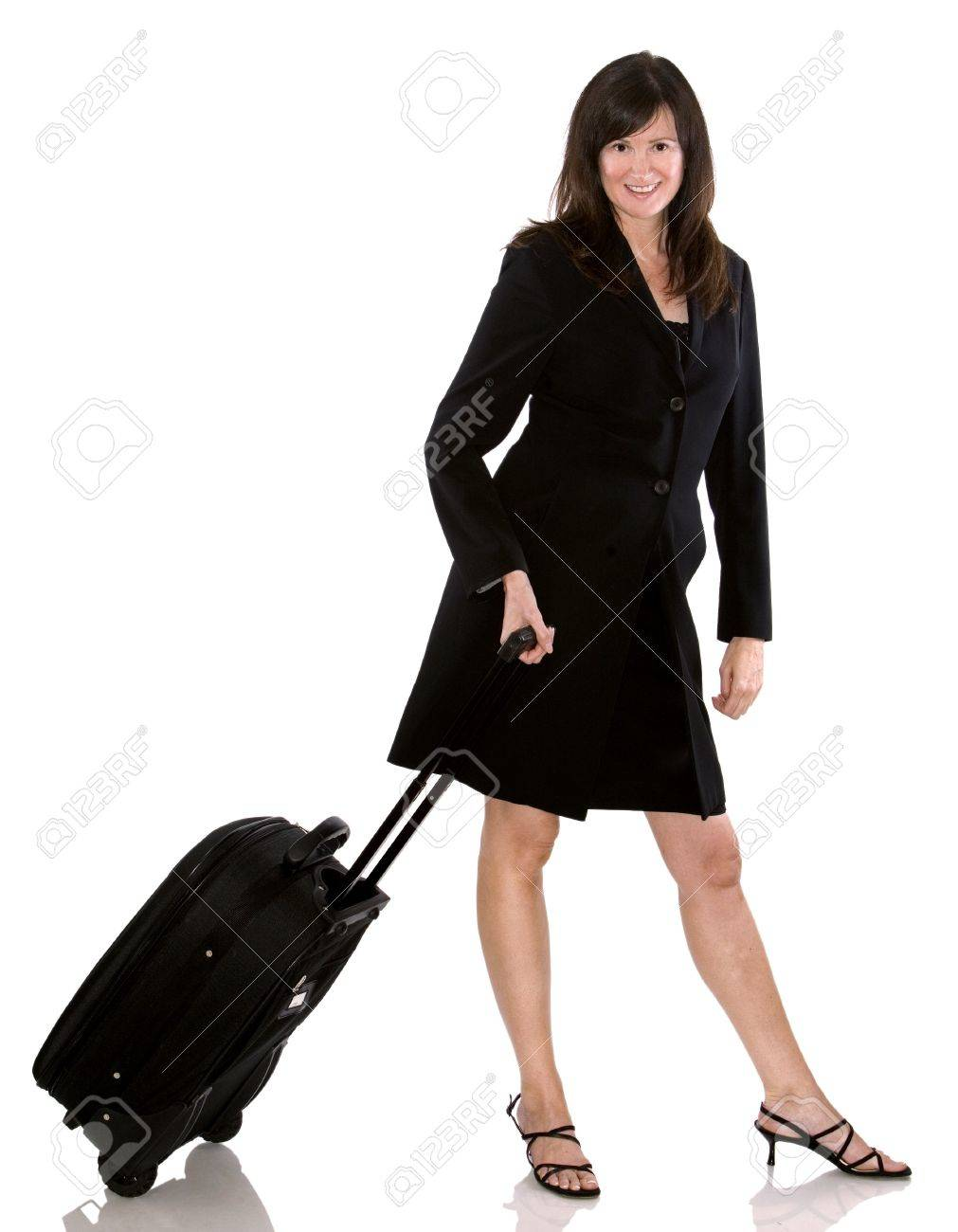 Older Business Woman With Luggage On White Background Stock Photo ...