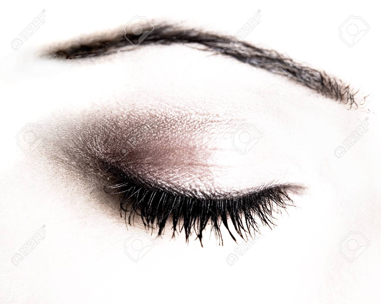 Eye Makeup Closup Of Brunette And Pretty Skin Stock Photo Picture