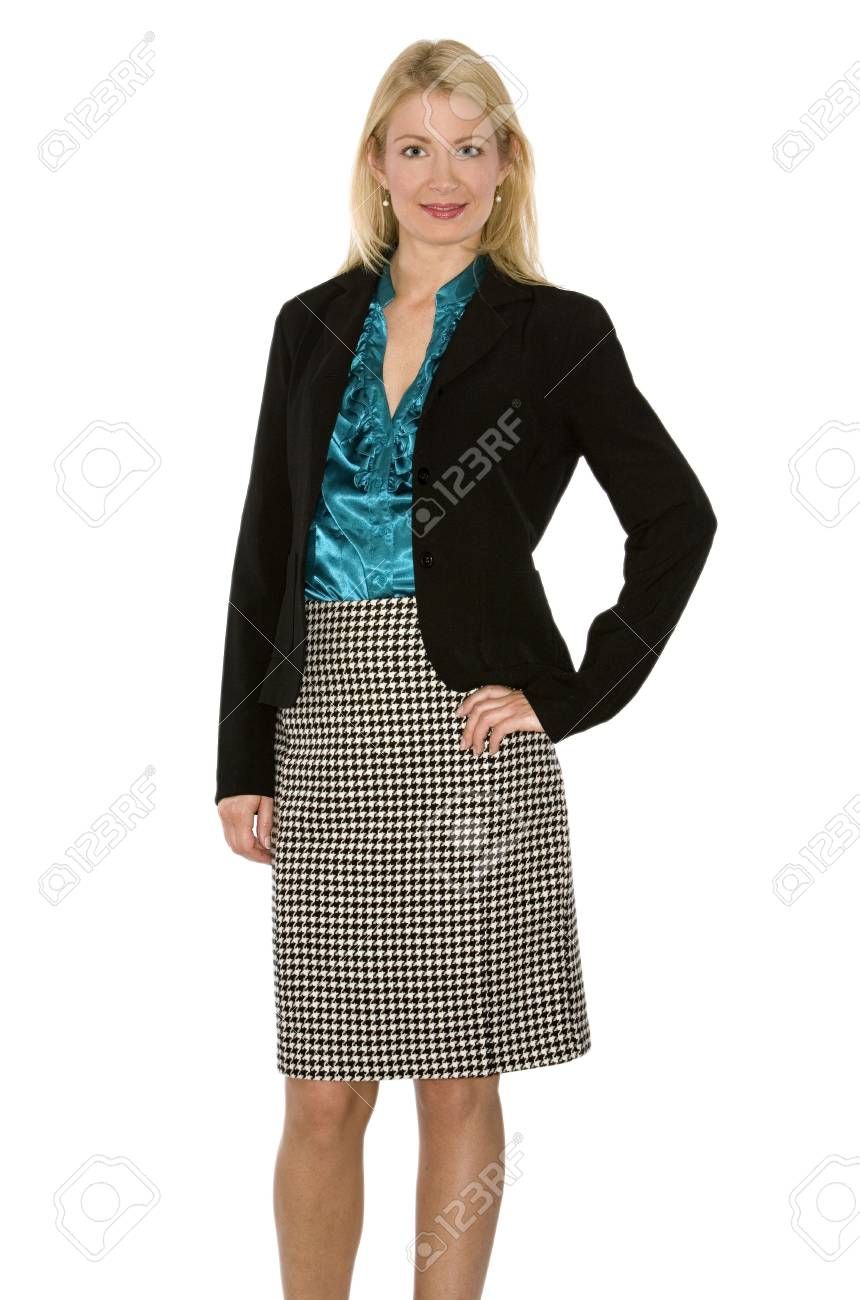 beautiful blond wearing business outfit on white background Stock Photo - 5580579