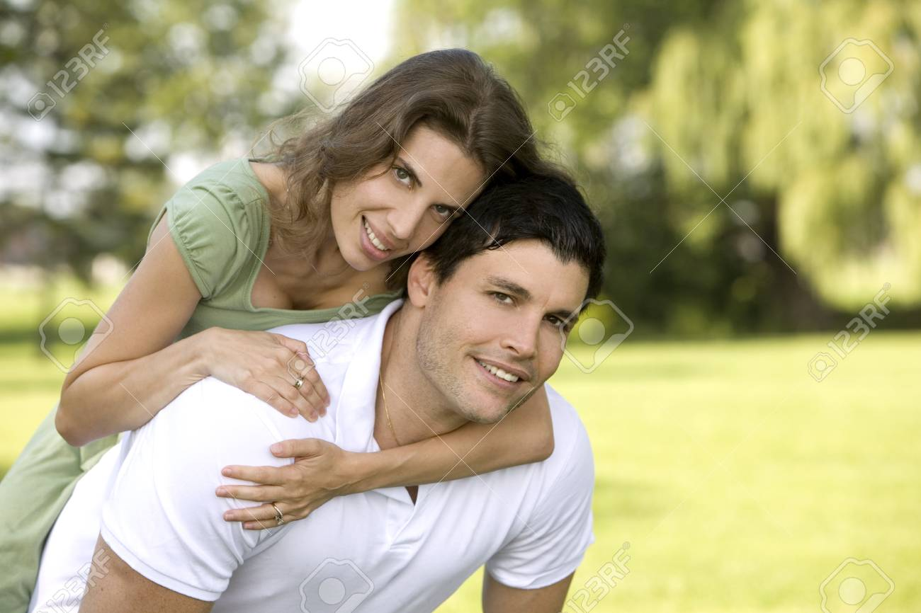 couple in the park having fun together Stock Photo - 10444401