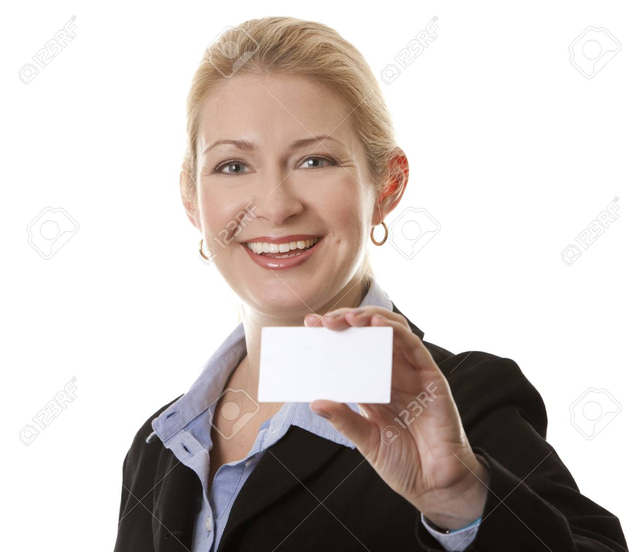 business woman in her 40s holding business card Stock Photo - 15870028