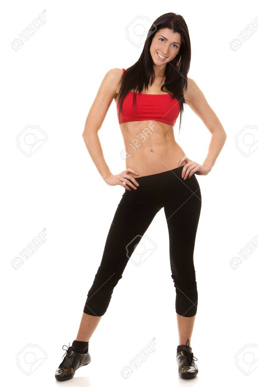 brunette wearing red and black fitness outfit on white background Stock Photo - 16607659