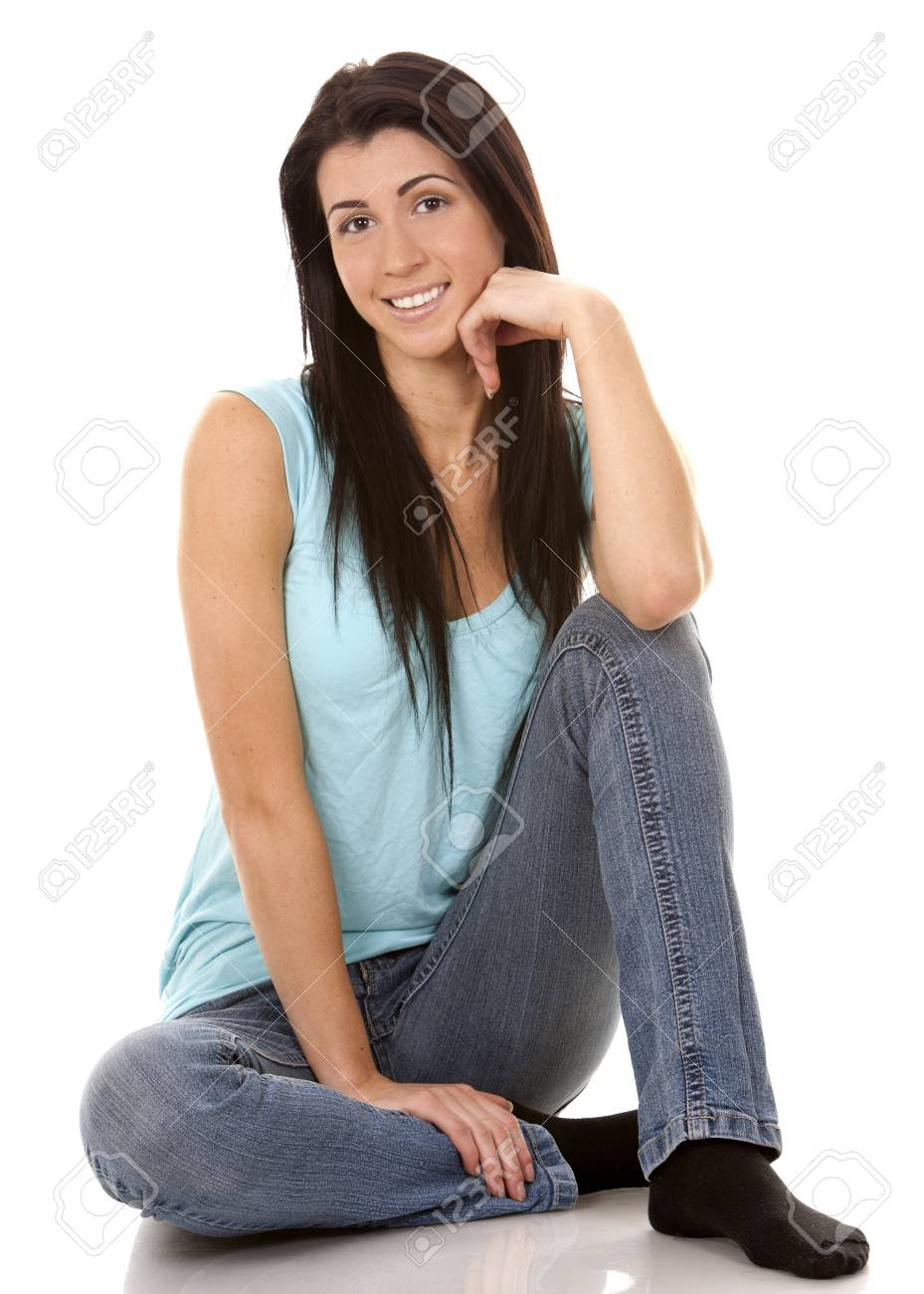 brunette wearing blue casual outfit on white isolated background Stock Photo - 16878875