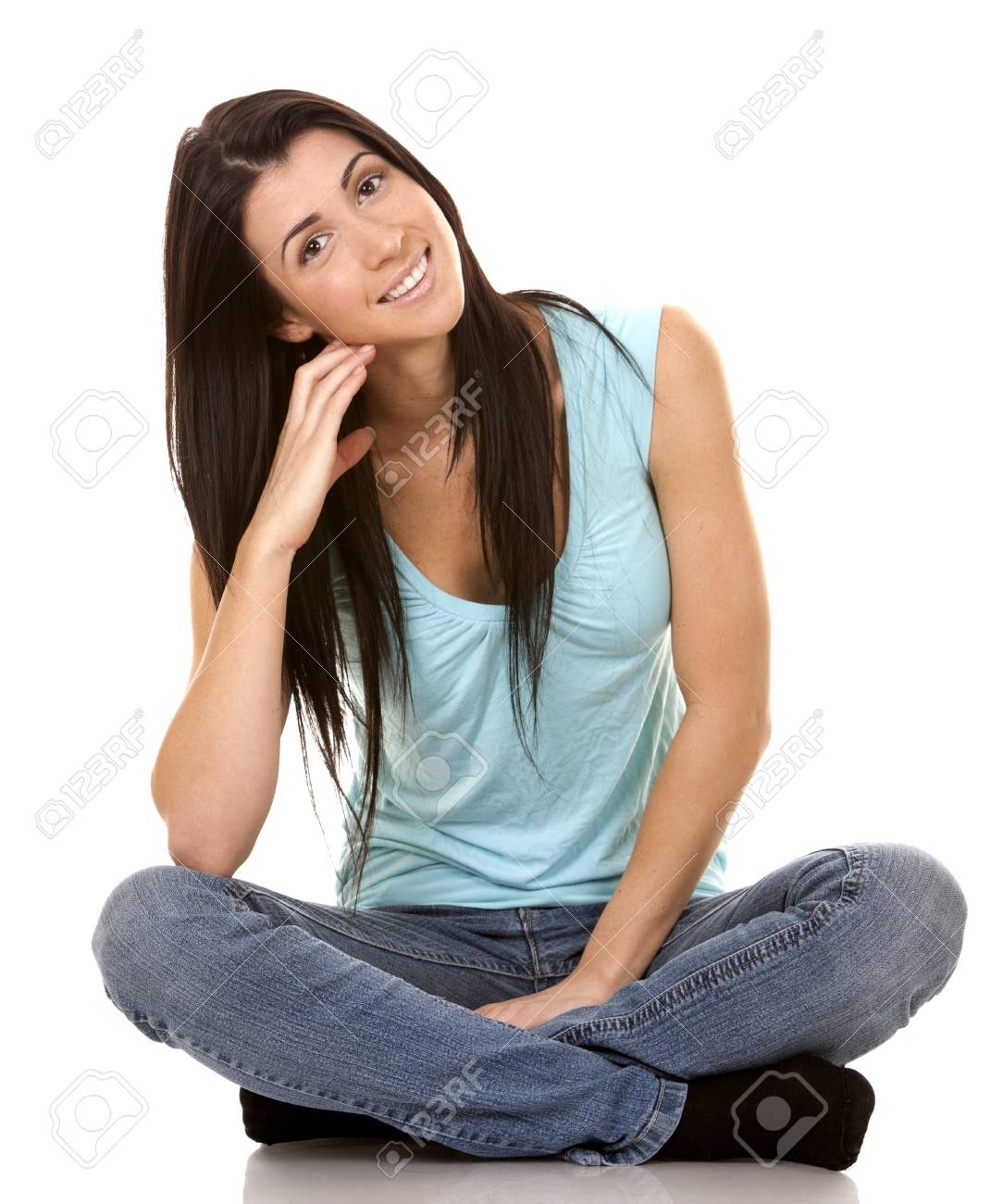 brunette wearing blue casual outfit on white isolated background Stock Photo - 16878863