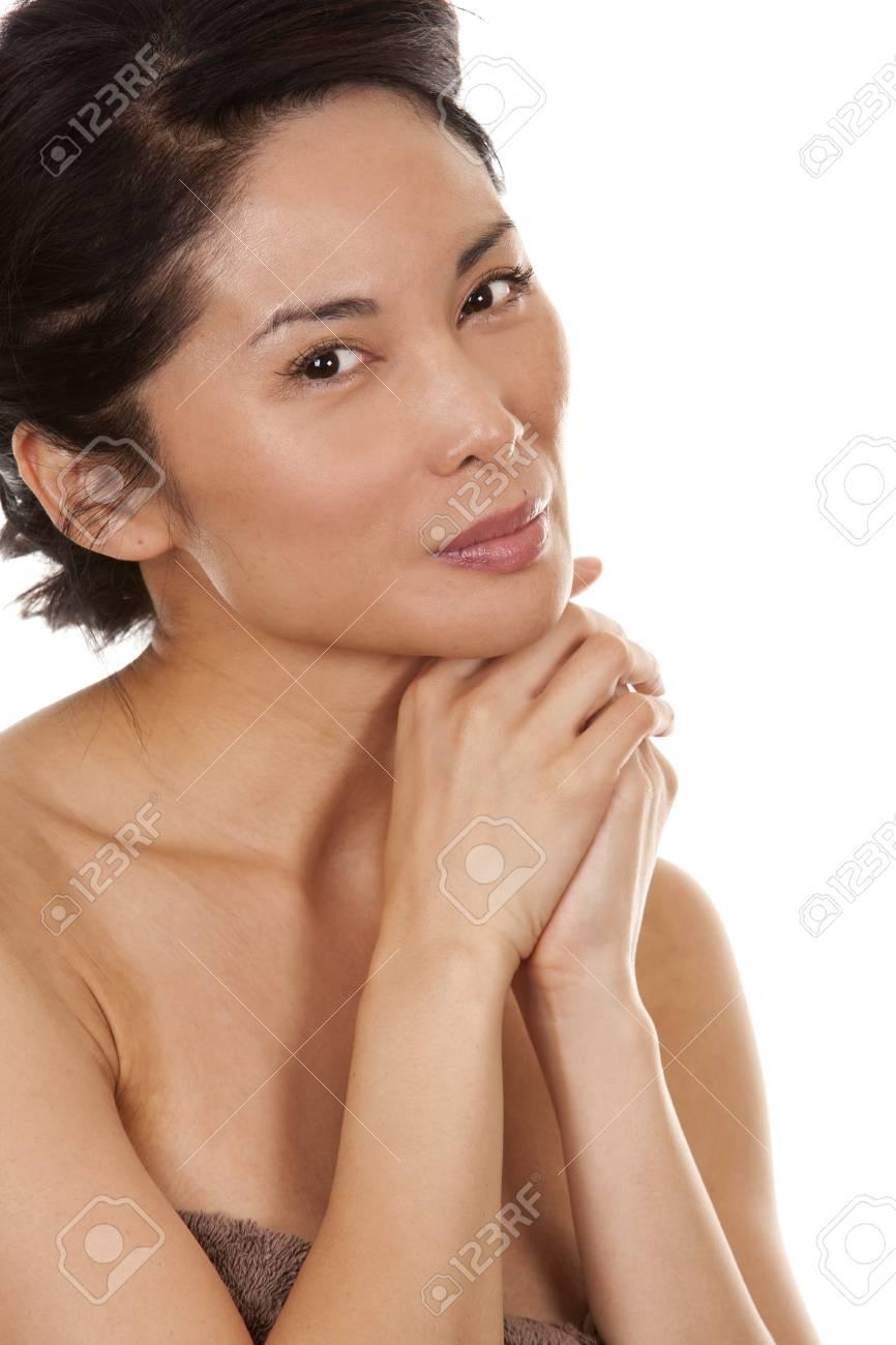 beautiful asian brunette nude on white isolated background Stock Photo - 17573598