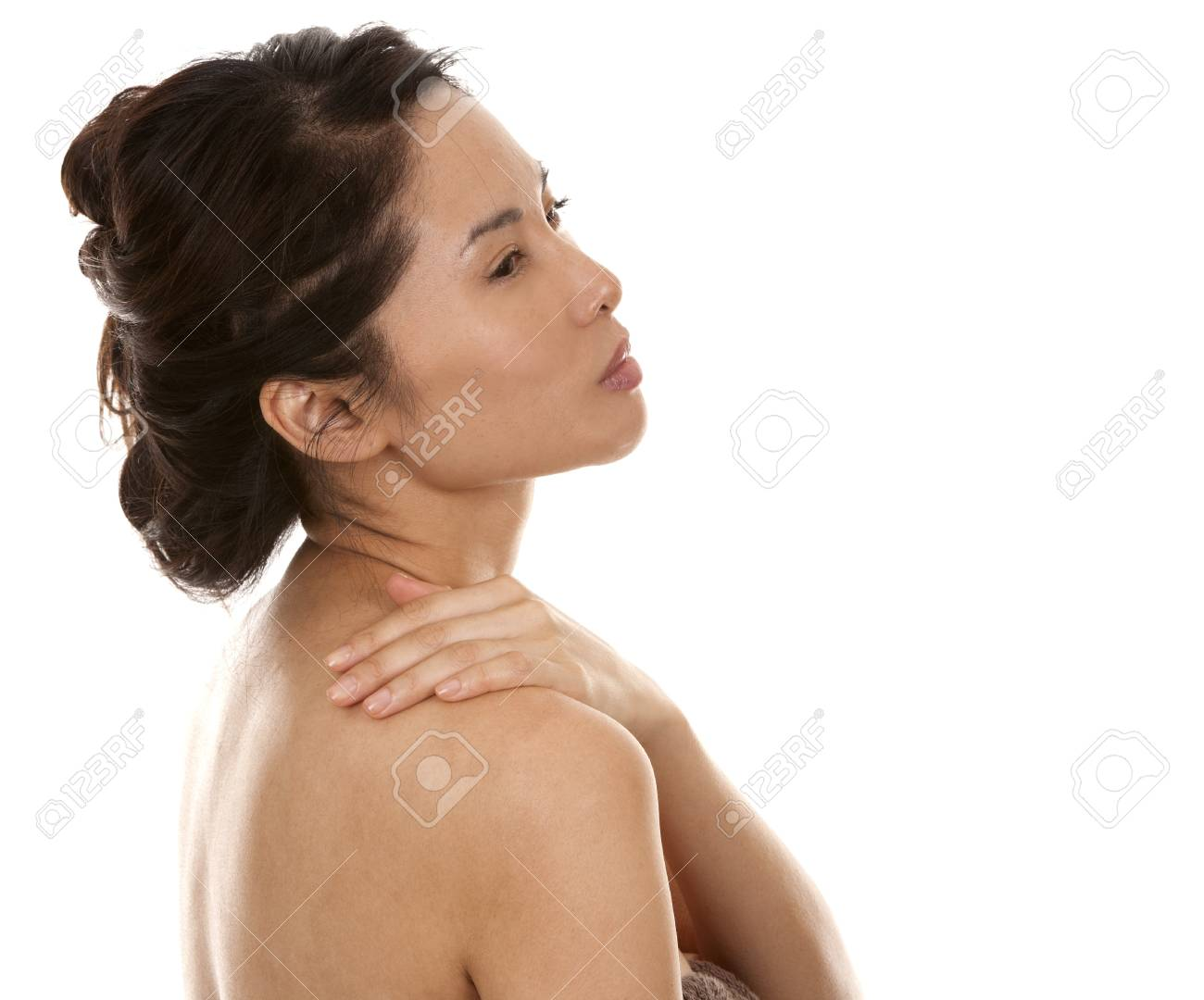 beautiful asian brunette nude on white isolated background Stock Photo - 17573516
