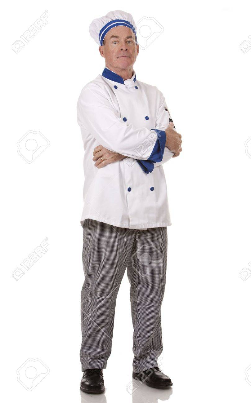mature chef wearing workwear on white isolated background - 17892764
