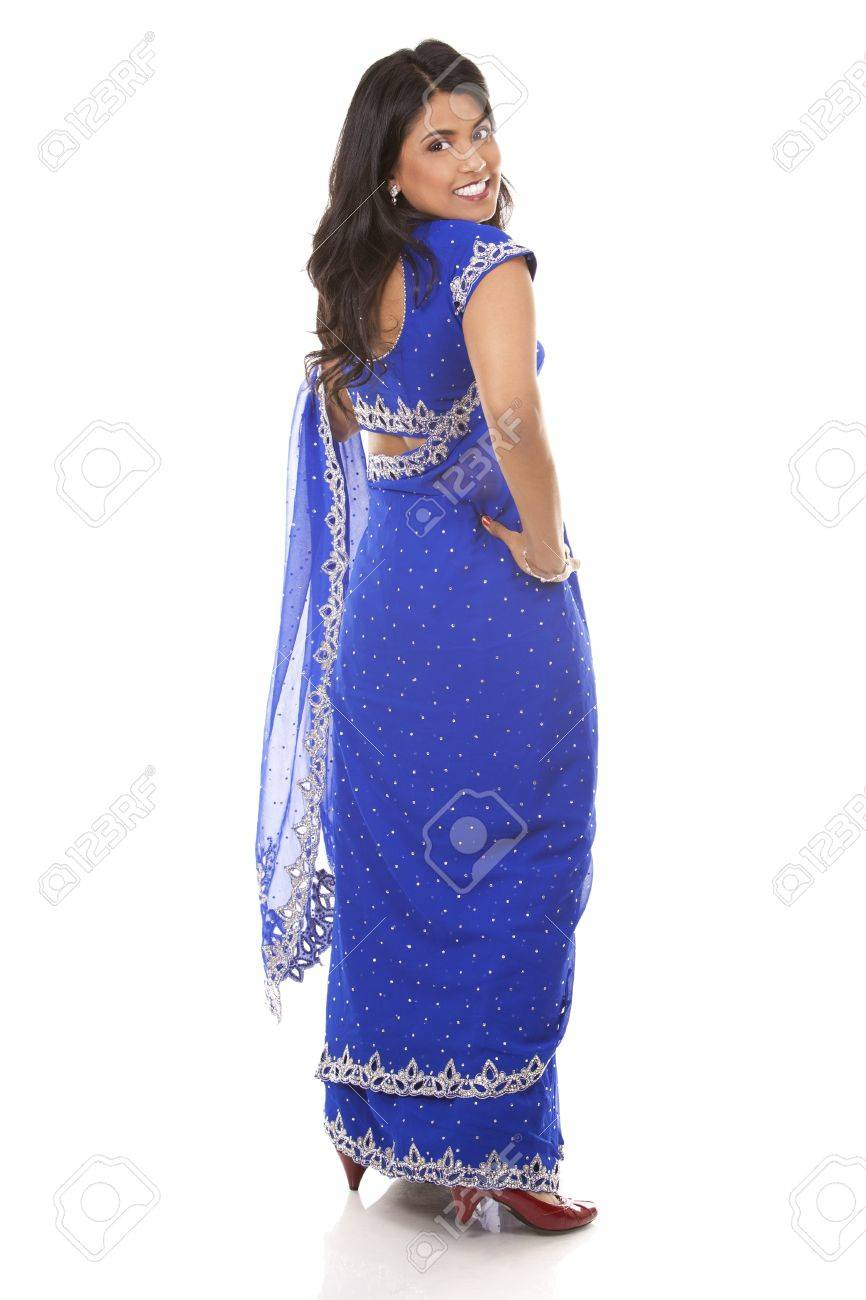 woman wering indian outfit on light grey background Stock Photo - 18843545