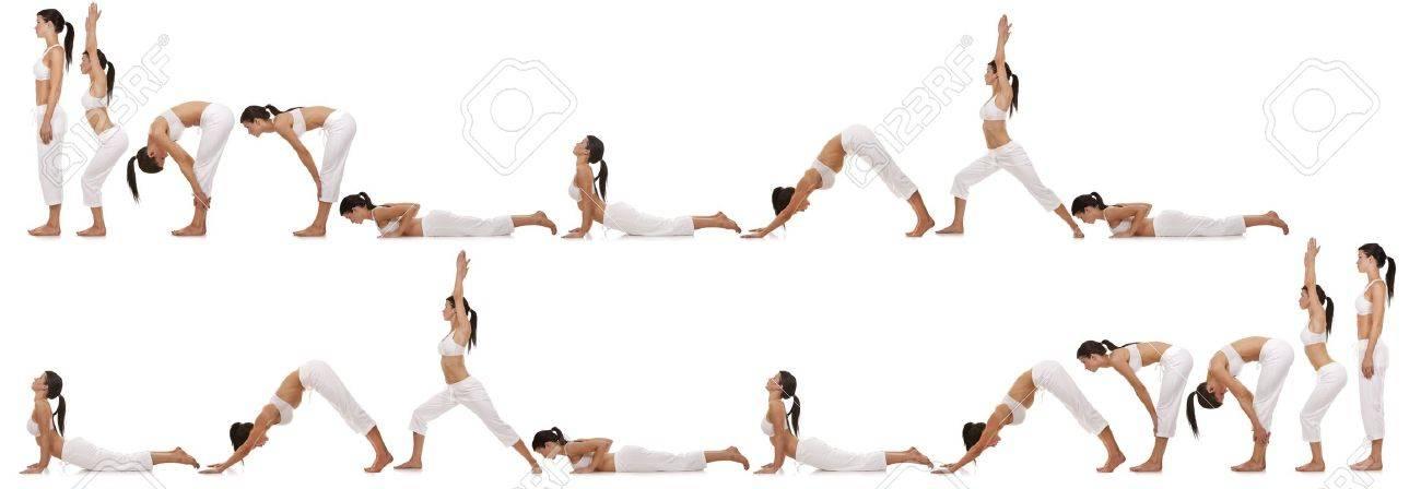 brunette exercising yoga sequence on white background Standard-Bild - 19225818