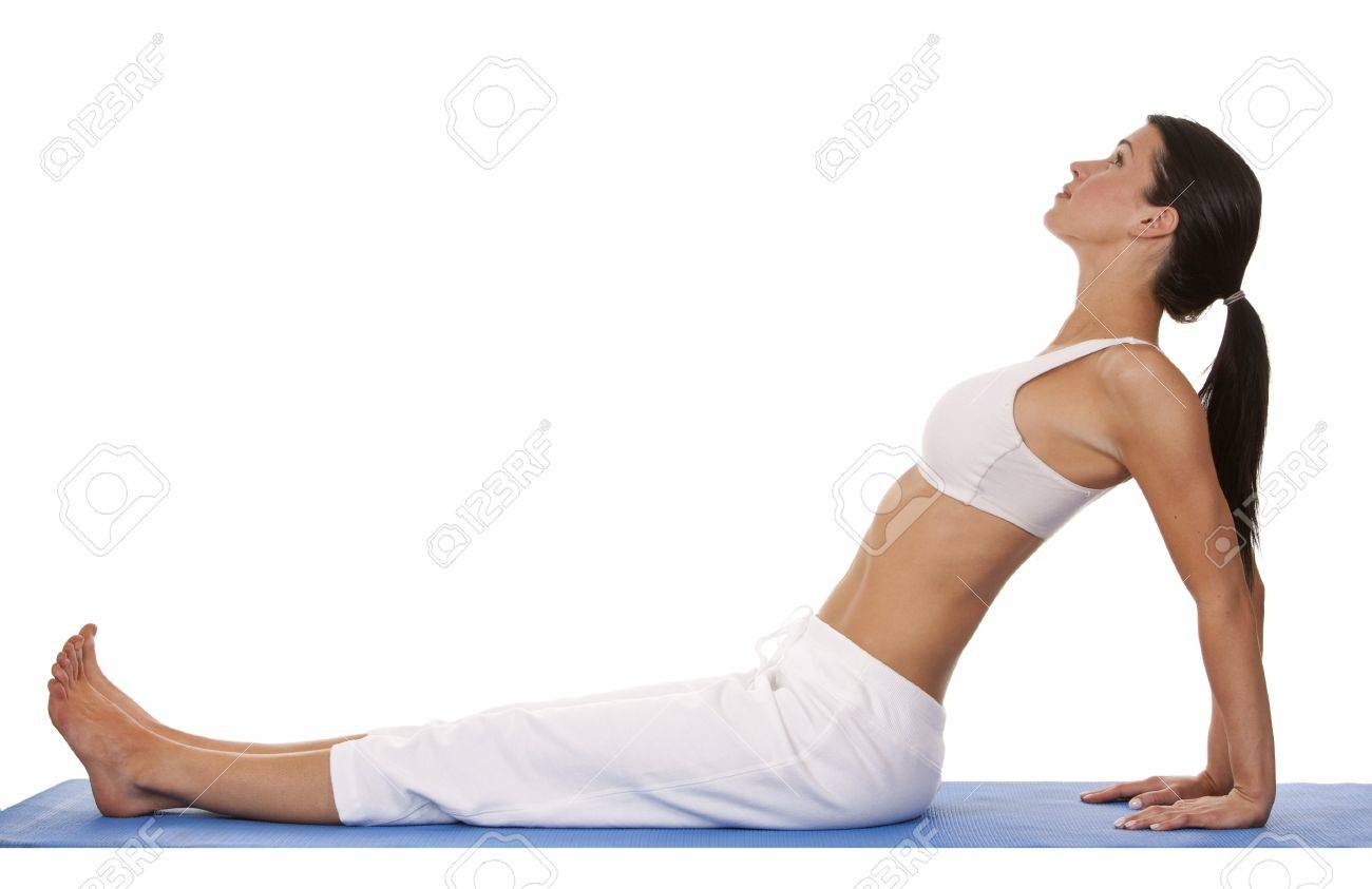 pretty brunette is exercising yoga on white background Stock Photo - 19356842