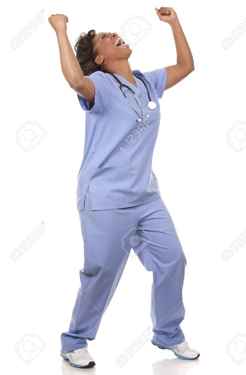 black nurse wearing scrubs on white isolated background Standard-Bild - 19445951