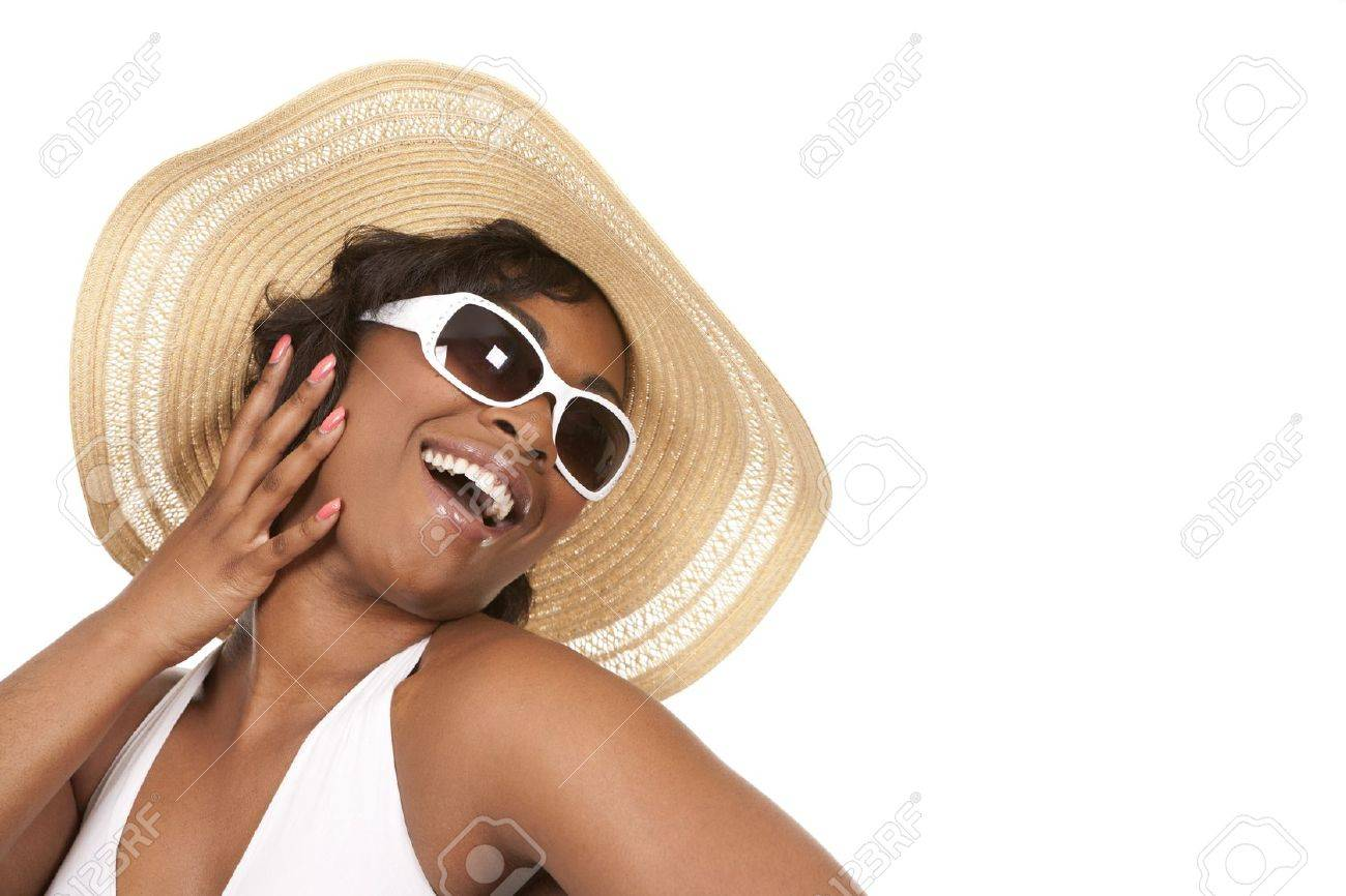 pretty black woman wearing white summer outfit on white background Standard-Bild - 19458233