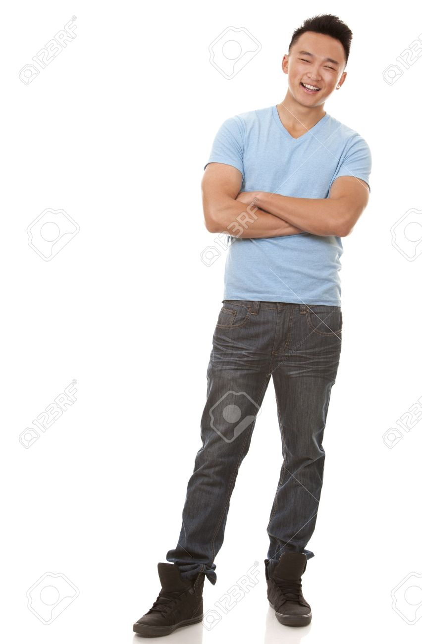 casual man wearing blue tshirt and jeans on white background Standard-Bild - 20603843