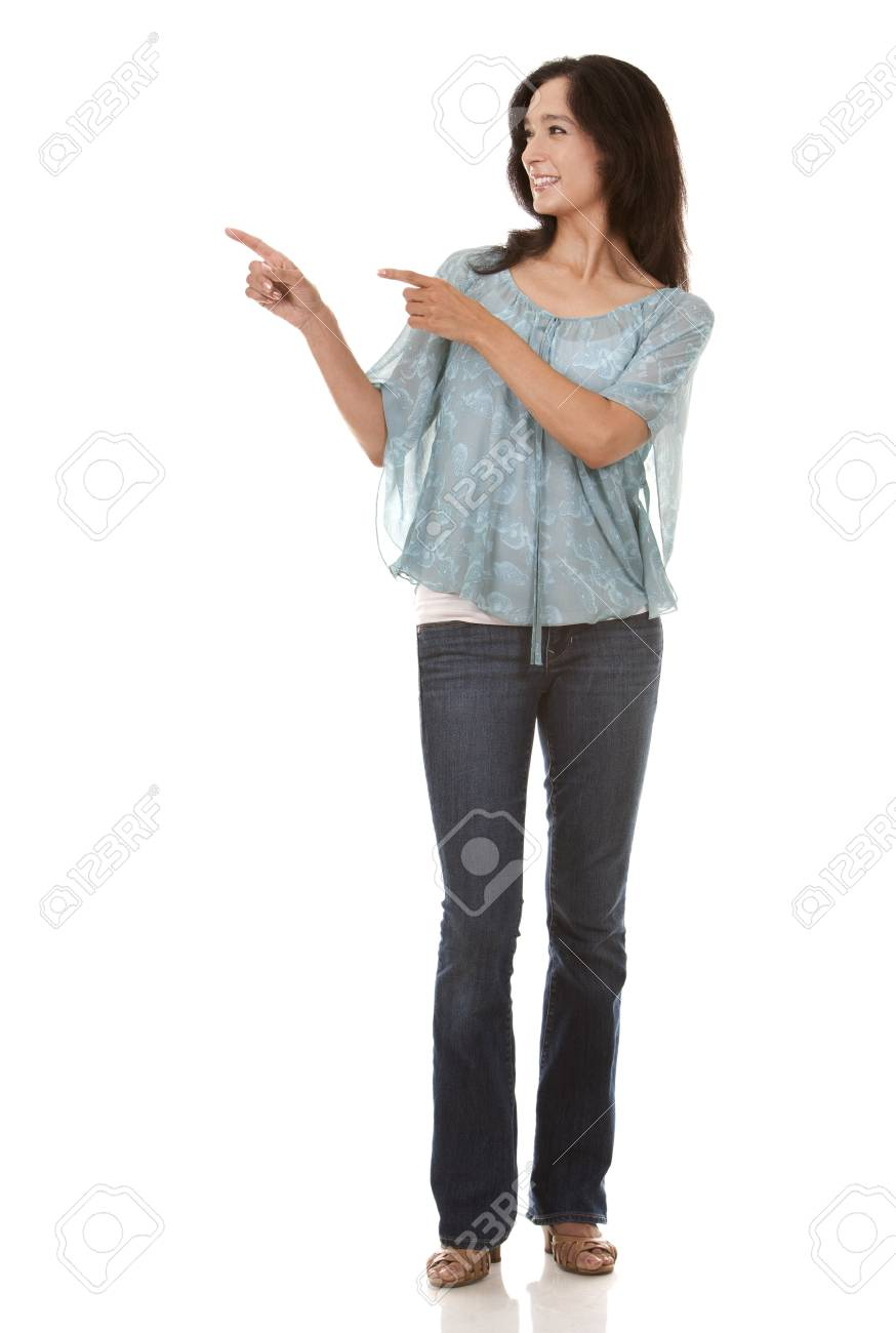pretty brunette in her 40s wearing casual outfit on white background Stock Photo - 20603801