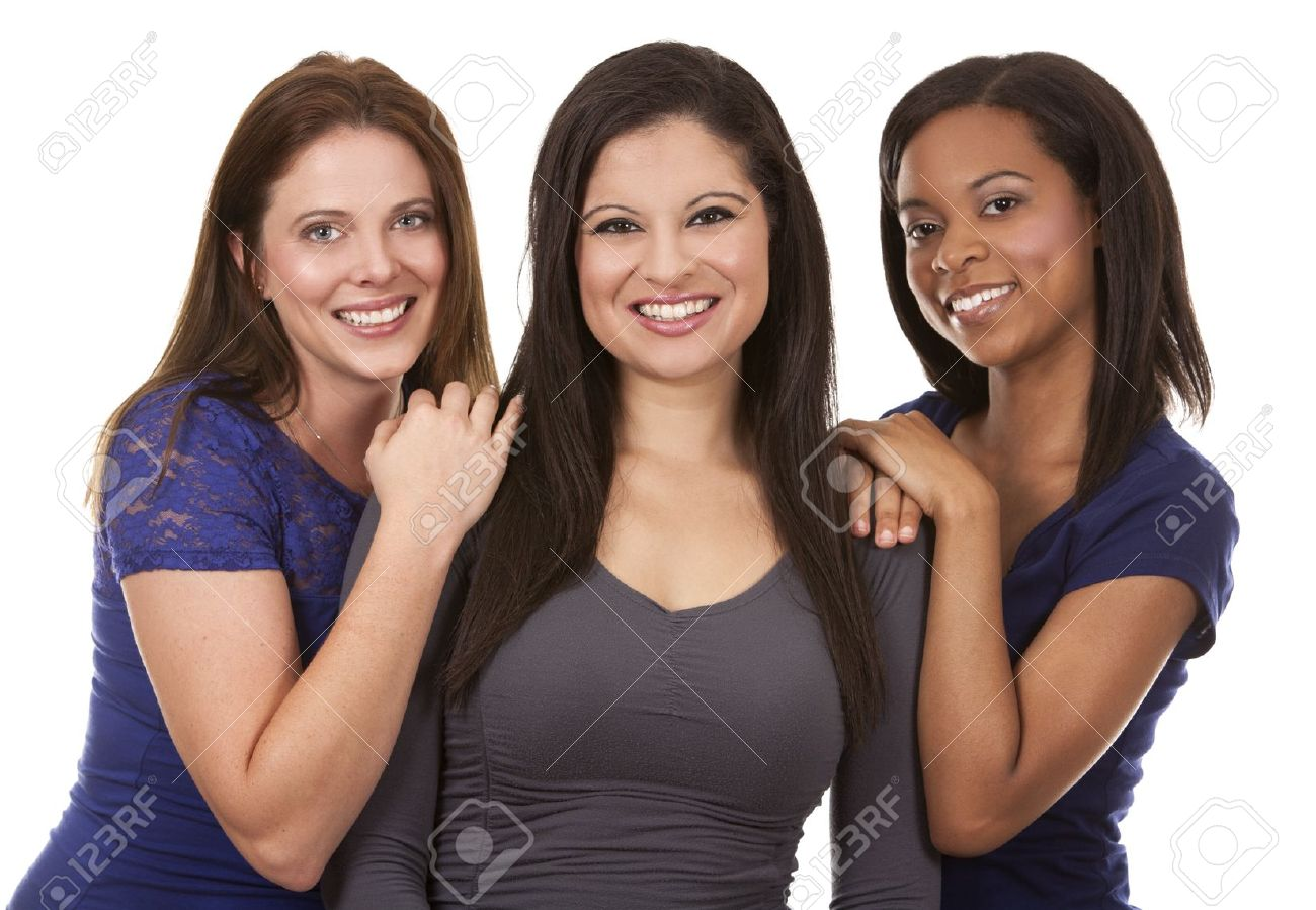 beautiful three women having fun on white isolated background Standard-Bild - 21467539