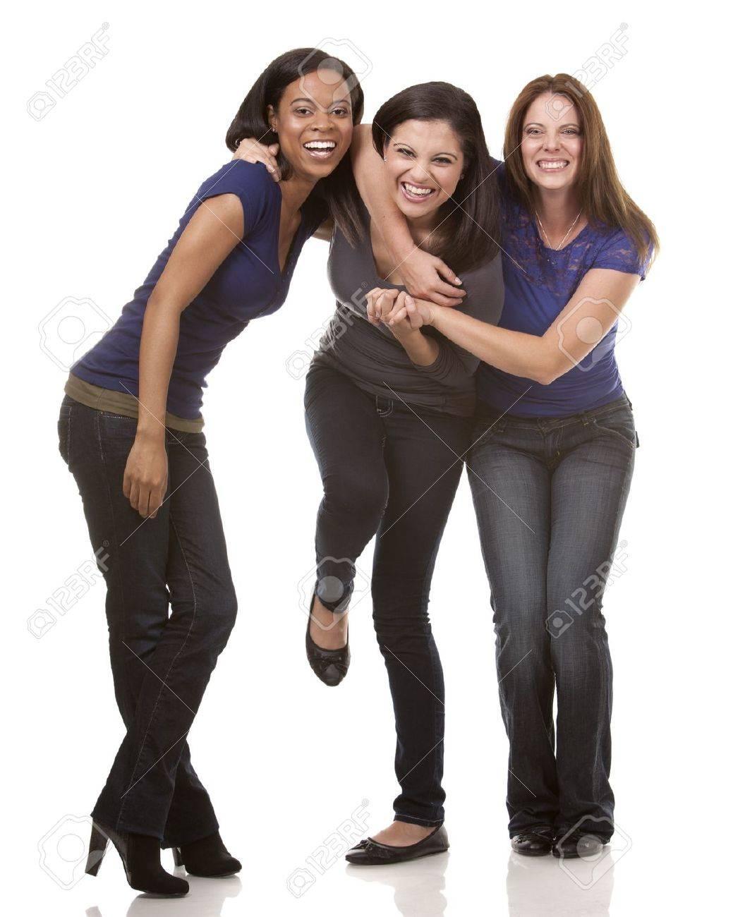 beautiful three women having fun on white isolated background Standard-Bild - 21588239