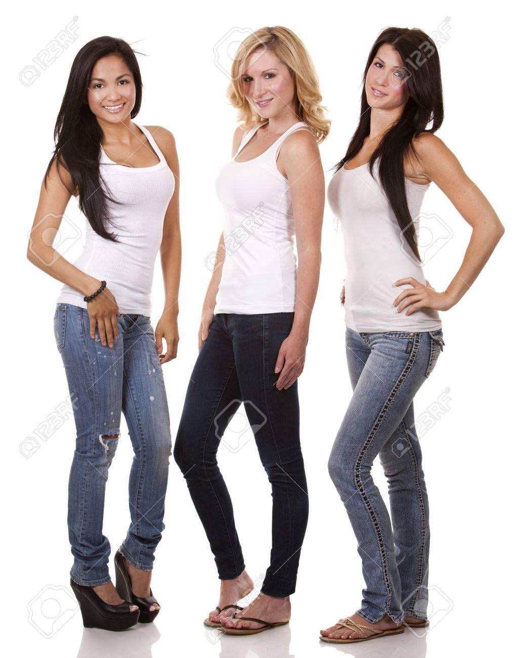 beautiful three women having fun on white background - 21861851