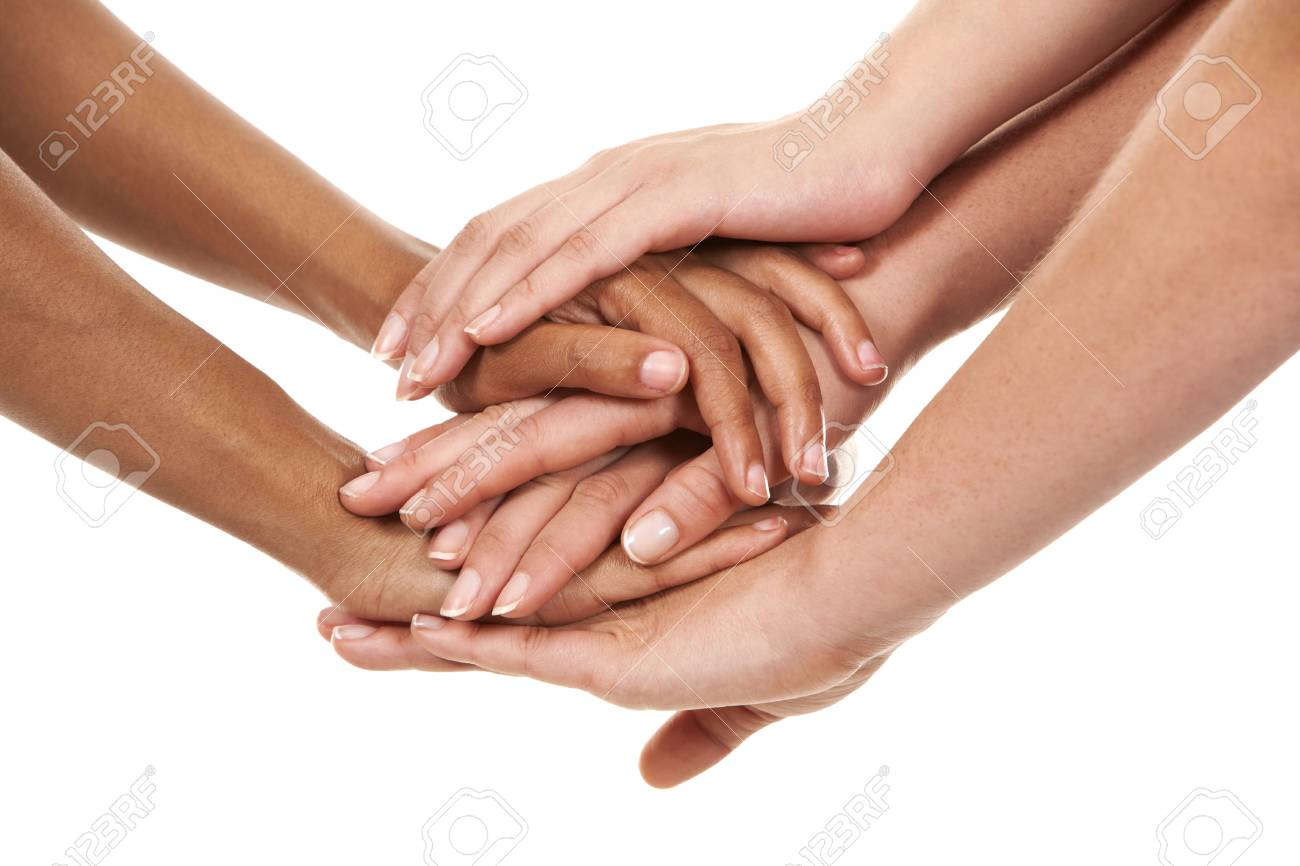 group of hands holding together on white isolated background Stock Photo - 23848064