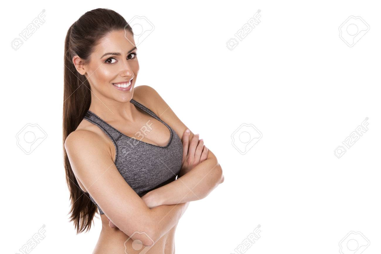 pretty caucasian fitness woman on white isolated background - 48821977