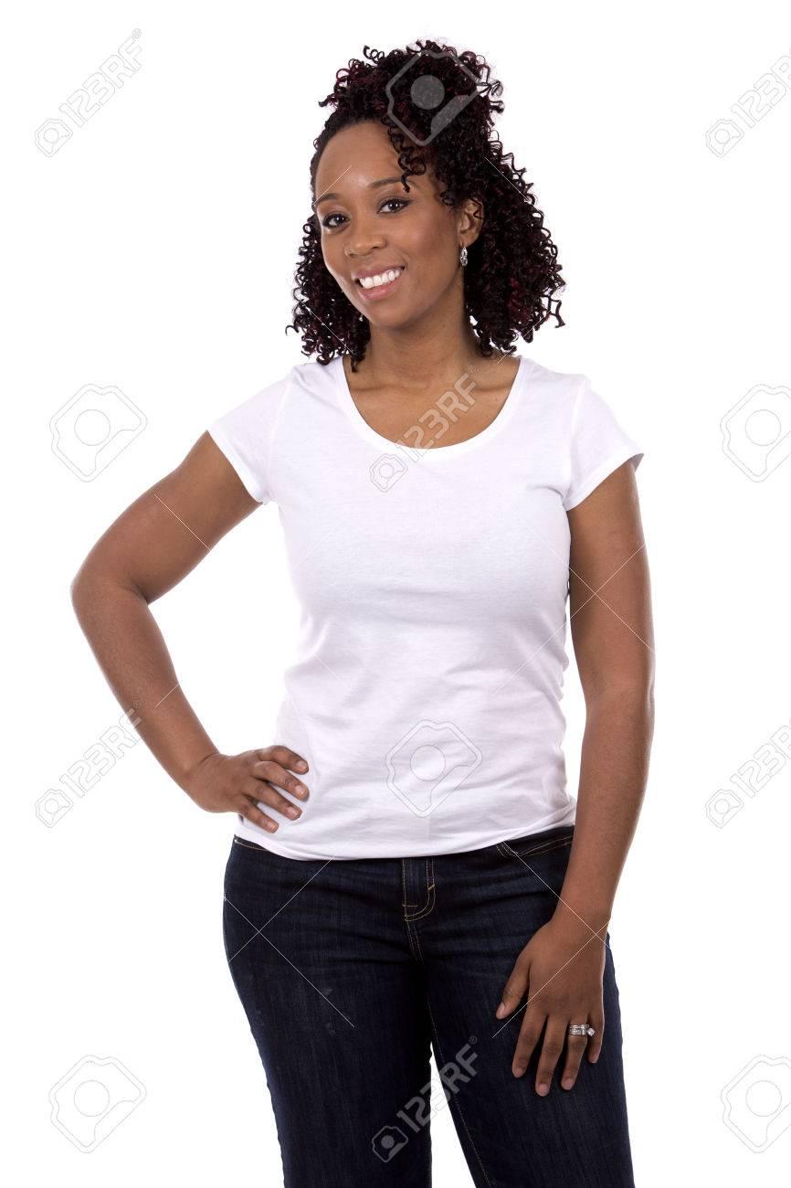 casual black woman posing on white studio background Standard-Bild - 49698429