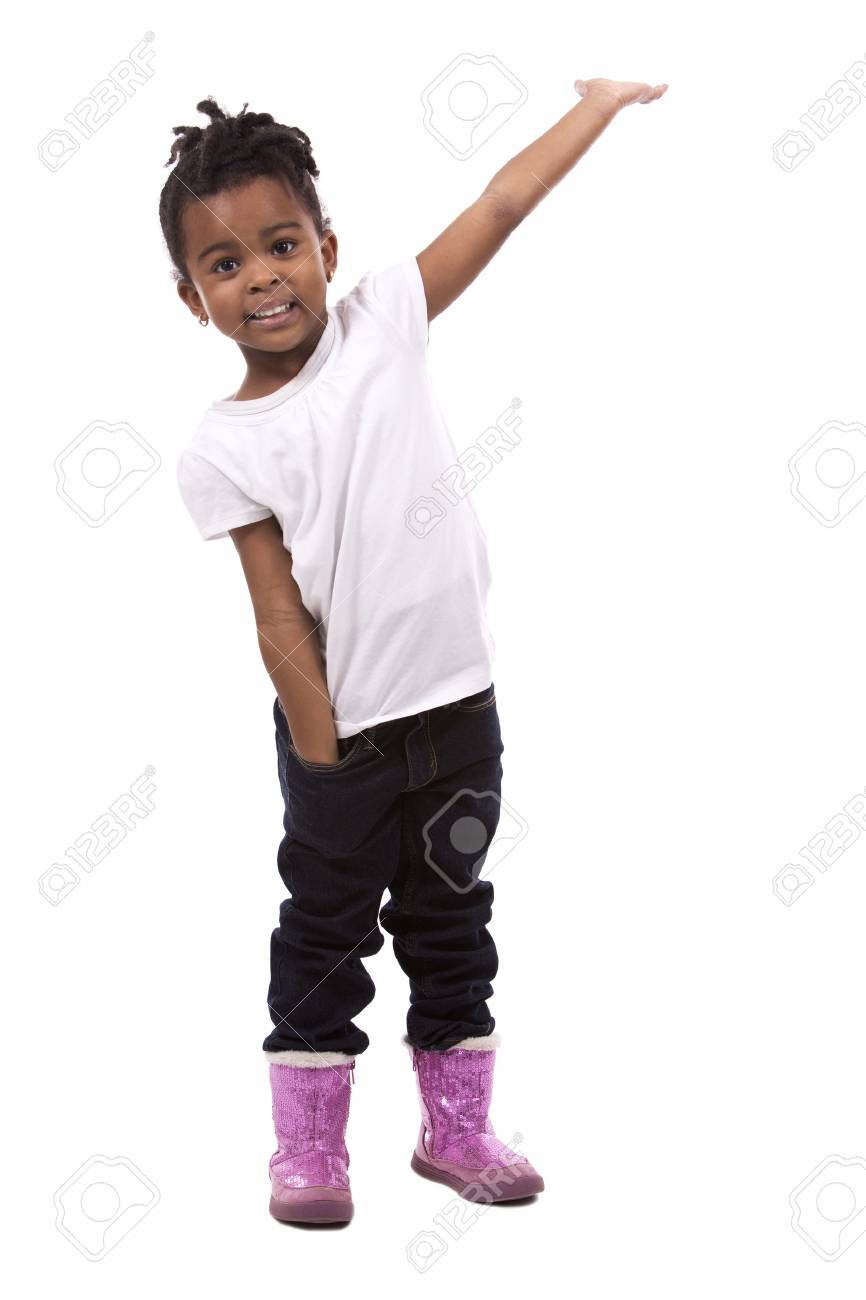 casual black girl posing on white studio background Standard-Bild - 49698486