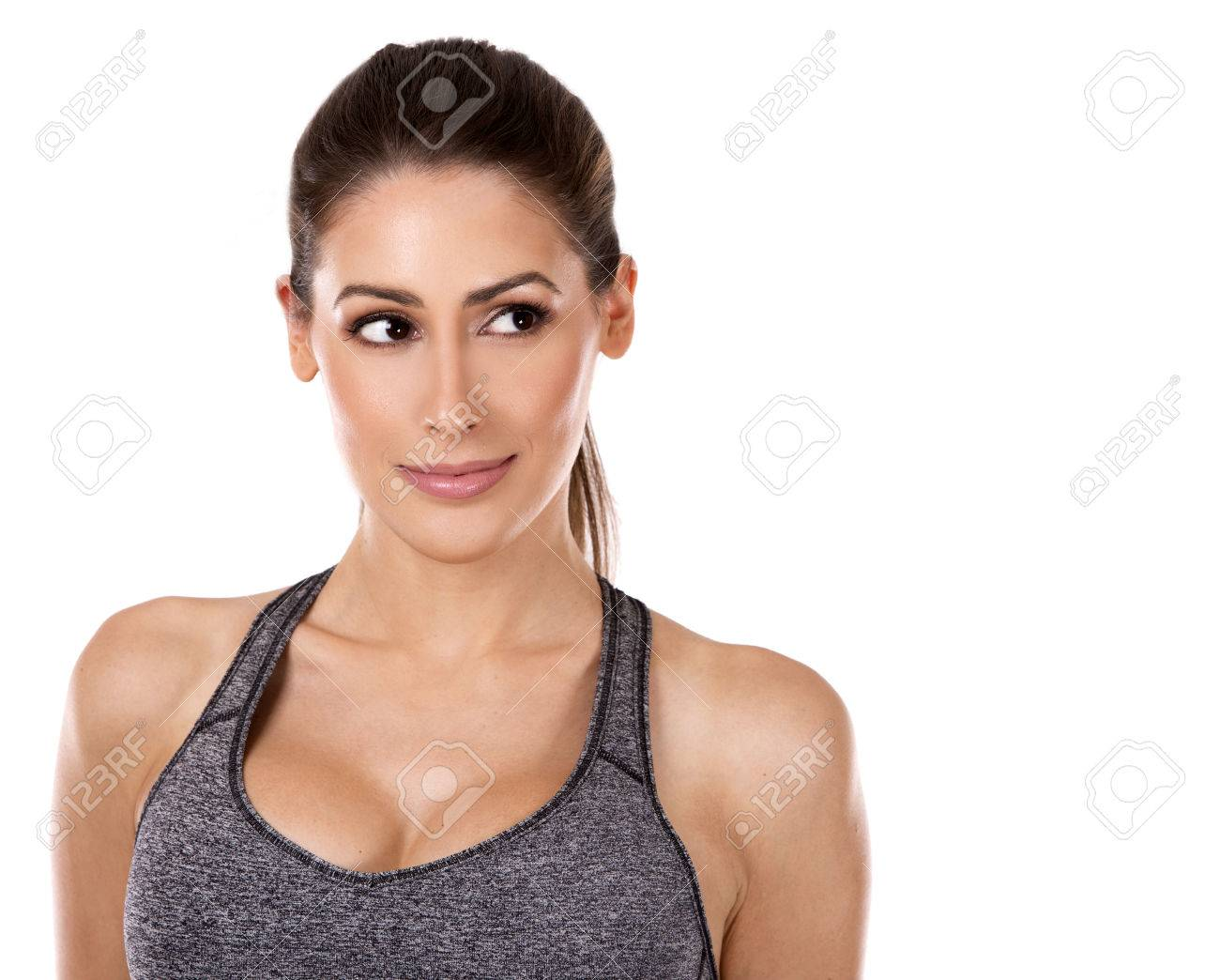 pretty caucasian fitness woman on white isolated background Standard-Bild - 50272756