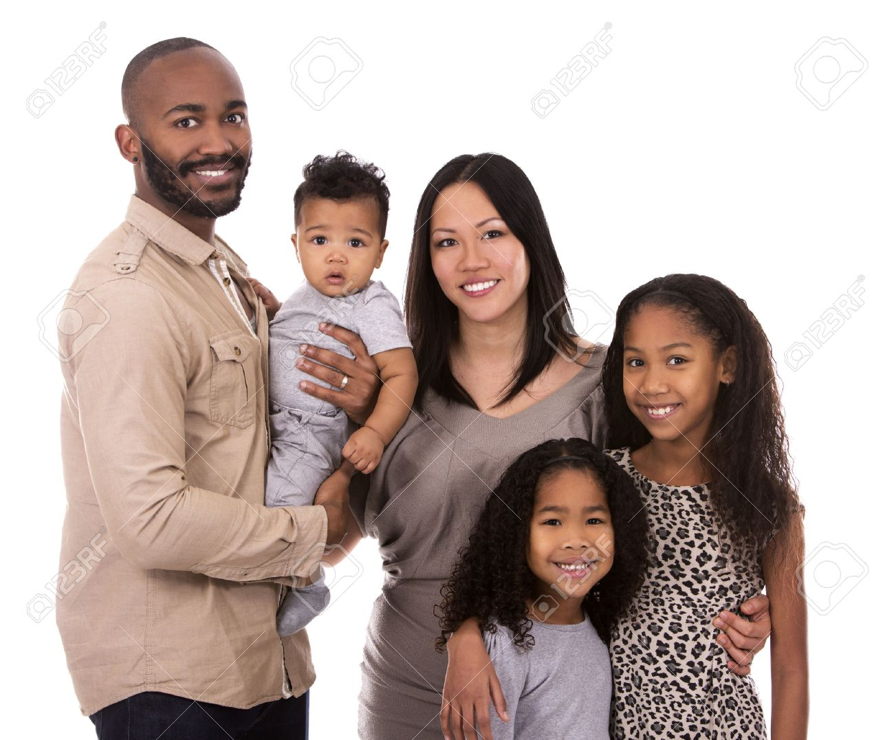 casual young mixed family on white isolated background - 50756234