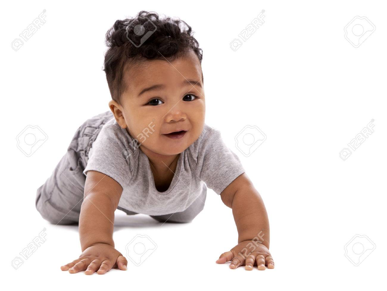 young baby boy wearing casual outfit on white background - 50756090