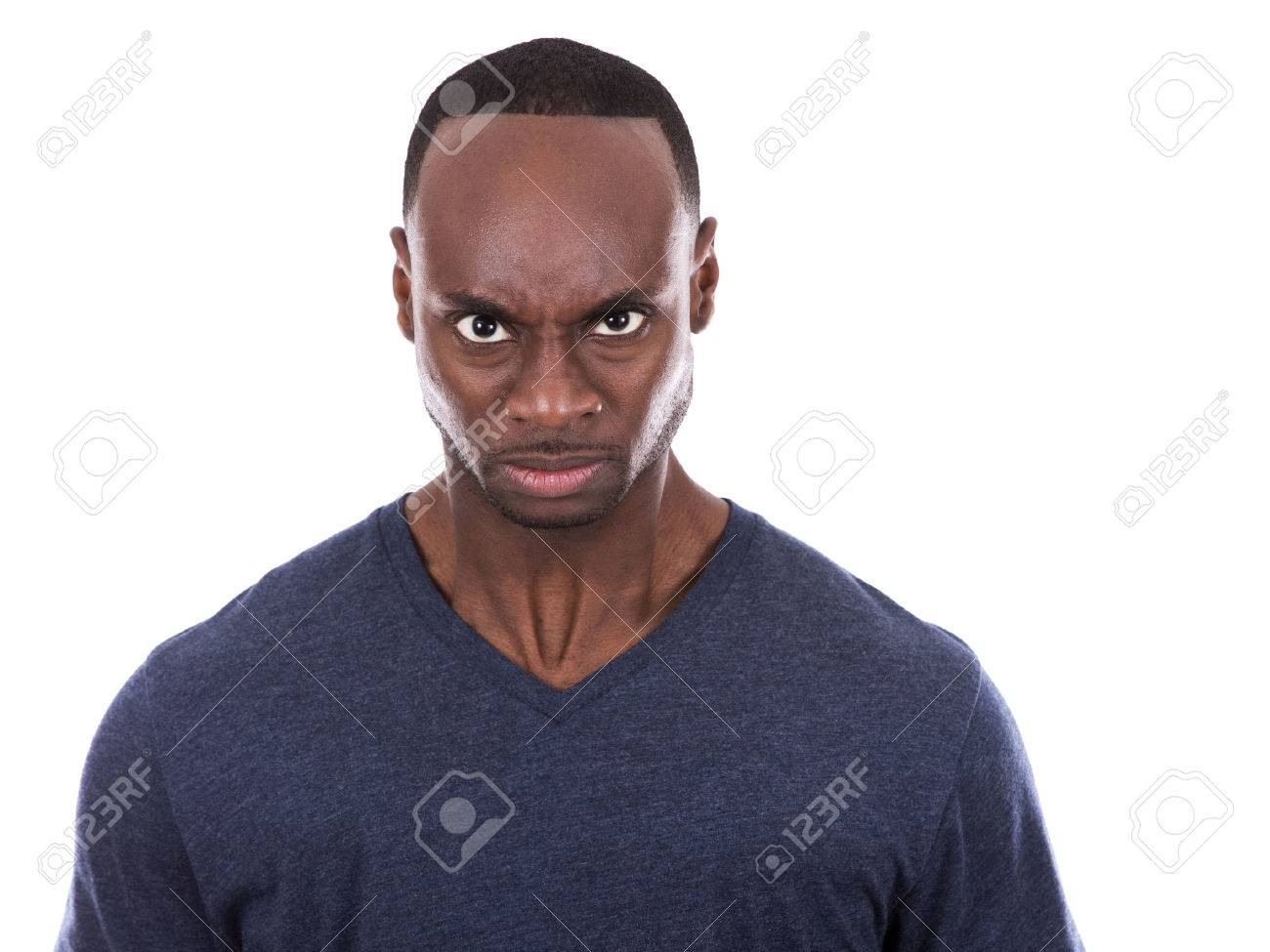 young casual black man wearing blue tshirt on white background - 52267927