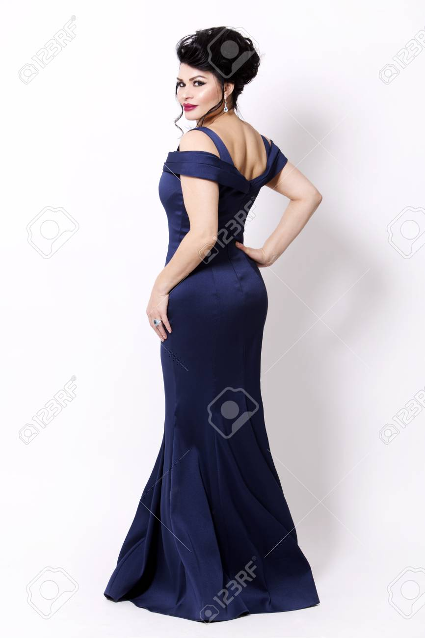 Elegant Woman Wearing Evening Gown In Dark Blue Or Navy Color ...