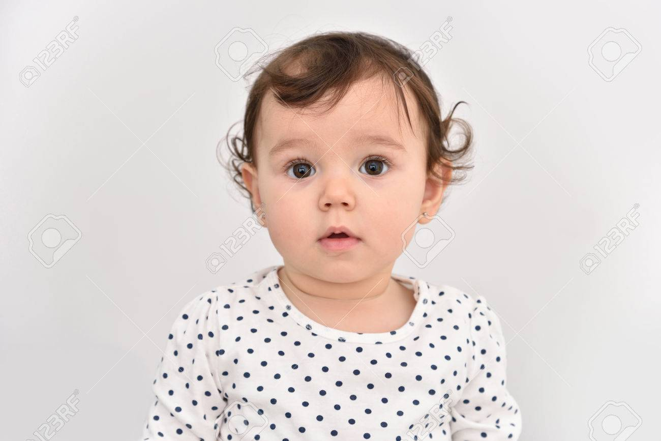 portrait of a cute baby girl with beautiful big brown eyes. isolated