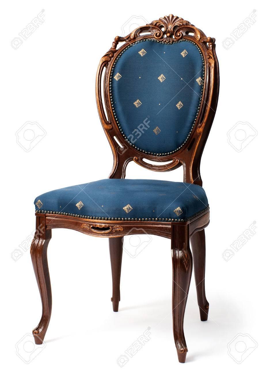 banque dimages chaise baroque avec sellerie bleu isol sur fond blanc - Chaise Baroque