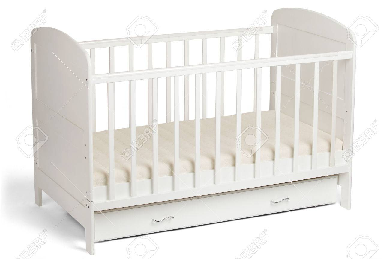 Furniture. Childhood. White Wooden Baby Crib Isolated On White ...