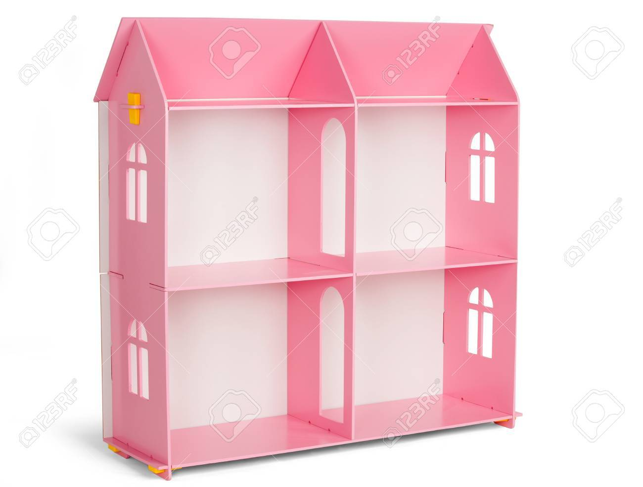 Toys Furniture Pink Wooden Dollhouse Isolated On White Background