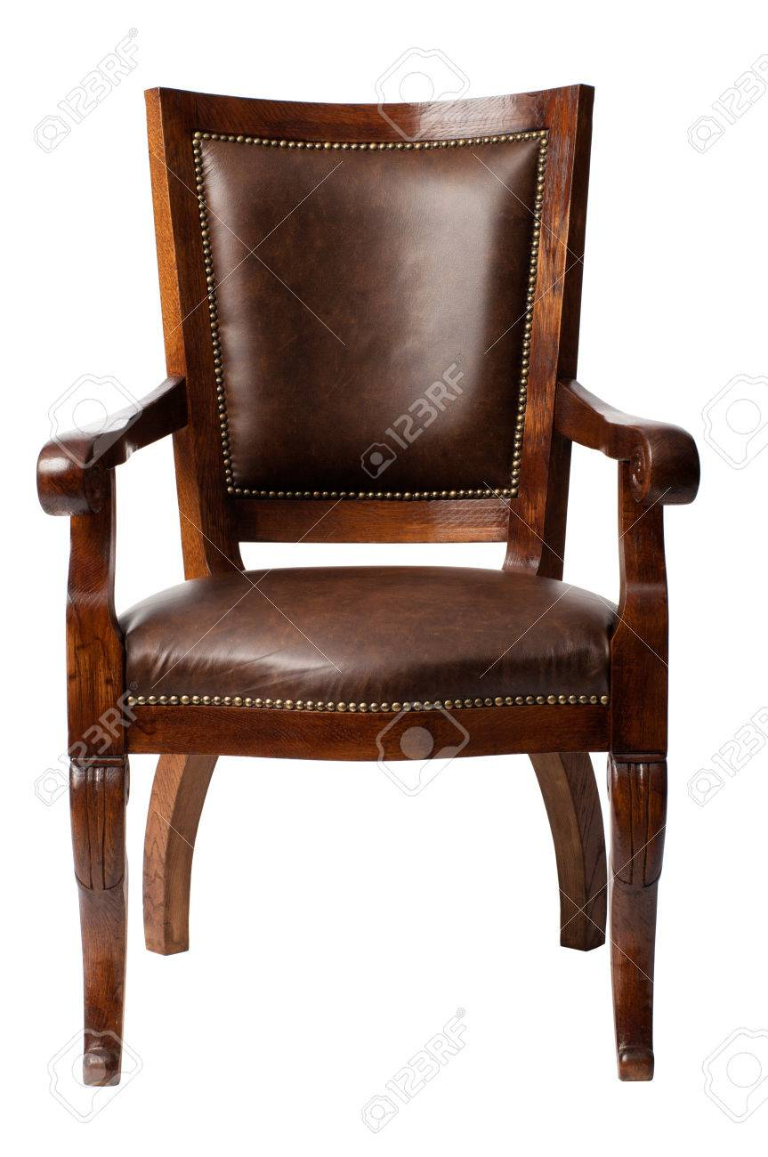 Gentil Luxurious Brown Vintage Wooden Armchair Upholstered In Leather Isolated On  White Background Stock Photo   68090422