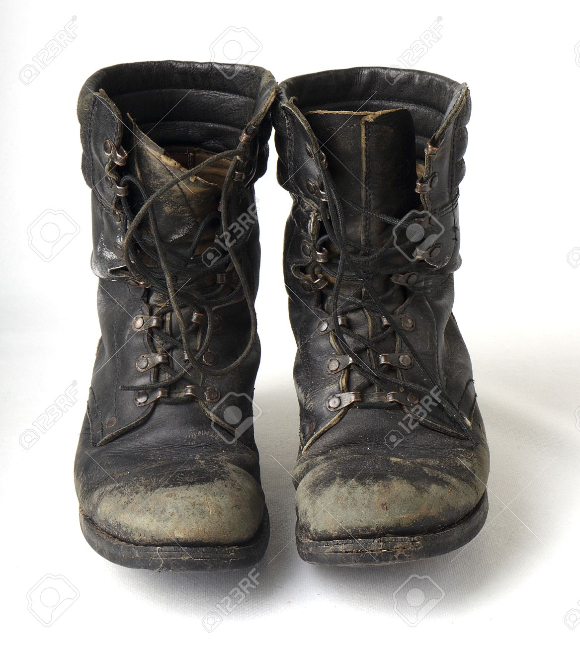 Black old military boots completely worn out Stock Photo - 55396352 075a4d2b635