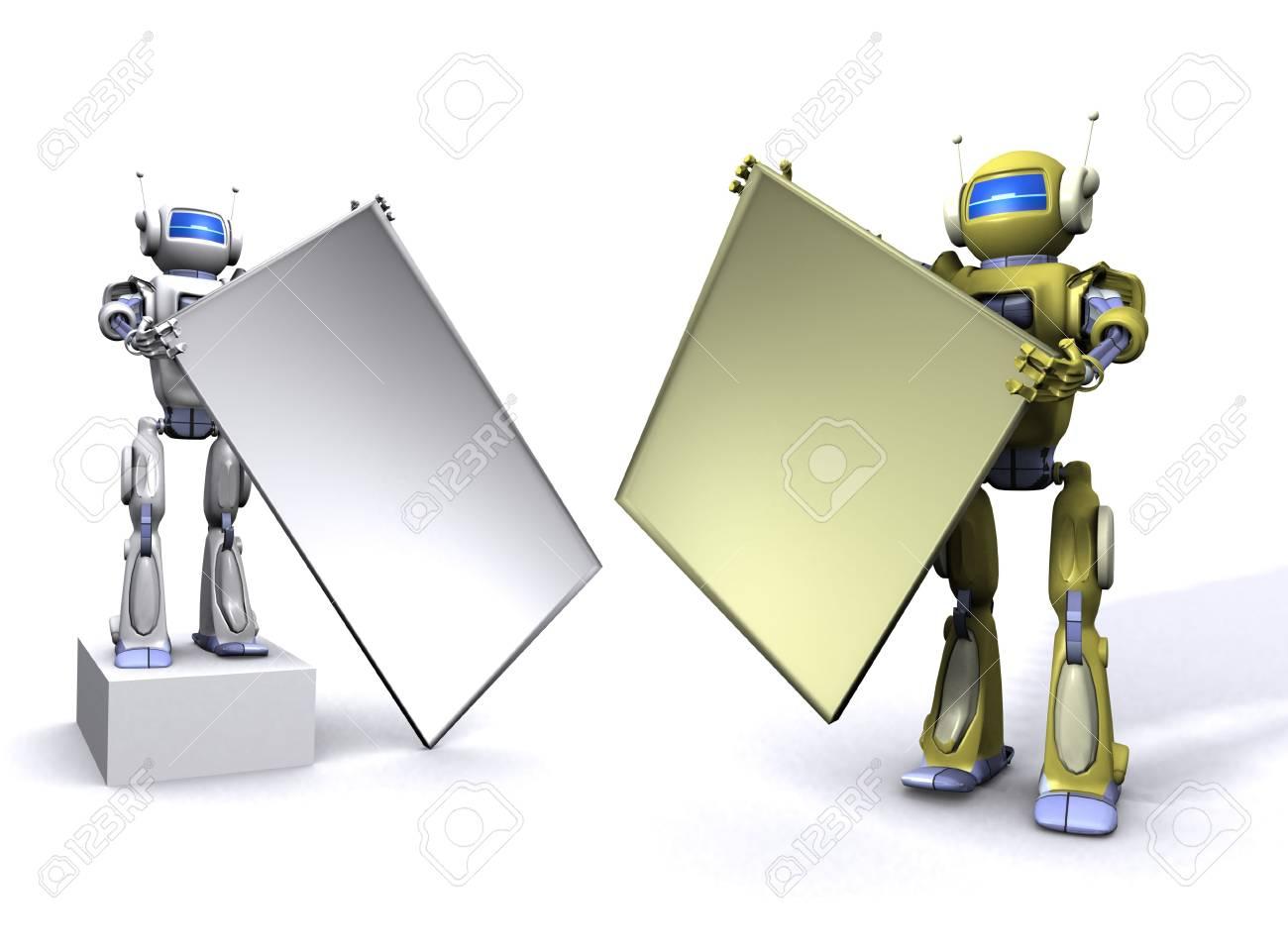 Robot with empty billboard Stock Photo - 7347686