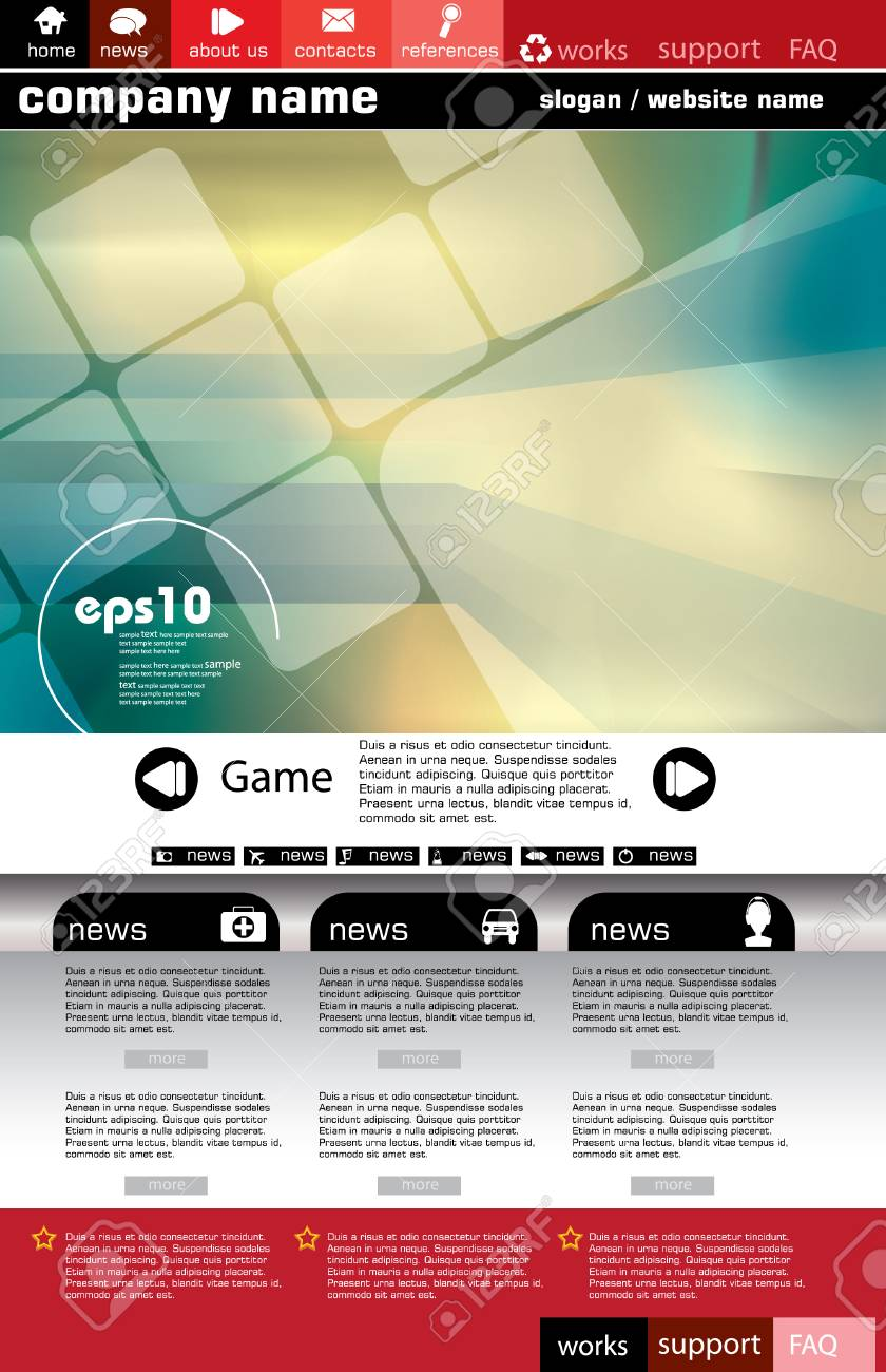 Web site design template, vector. Stock Vector - 8863104