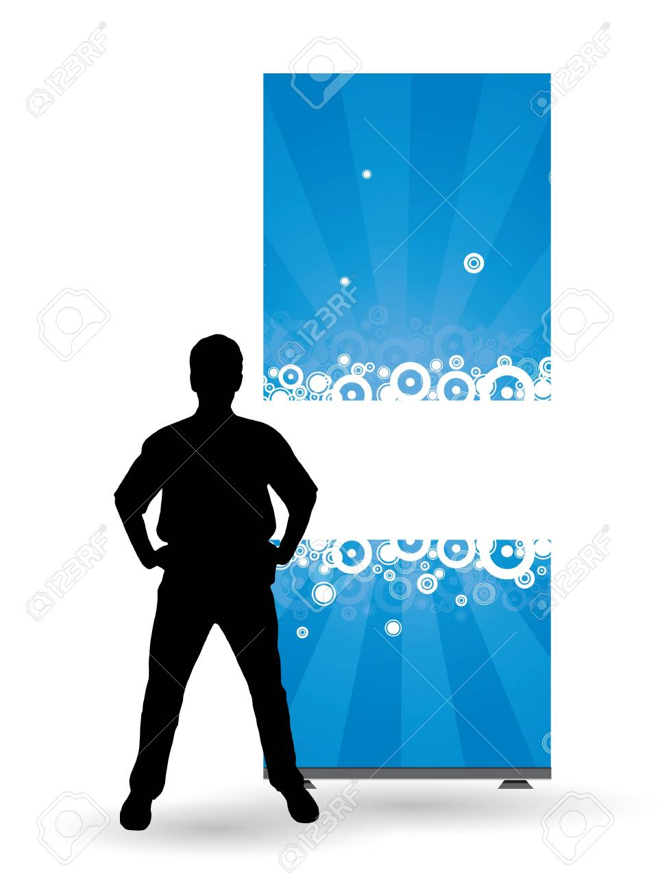 Businessman with roll up Stock Vector - 9744607