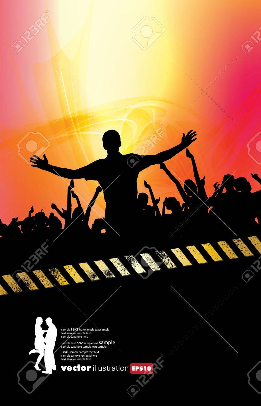 Large crowd of party people Stock Vector - 9744634