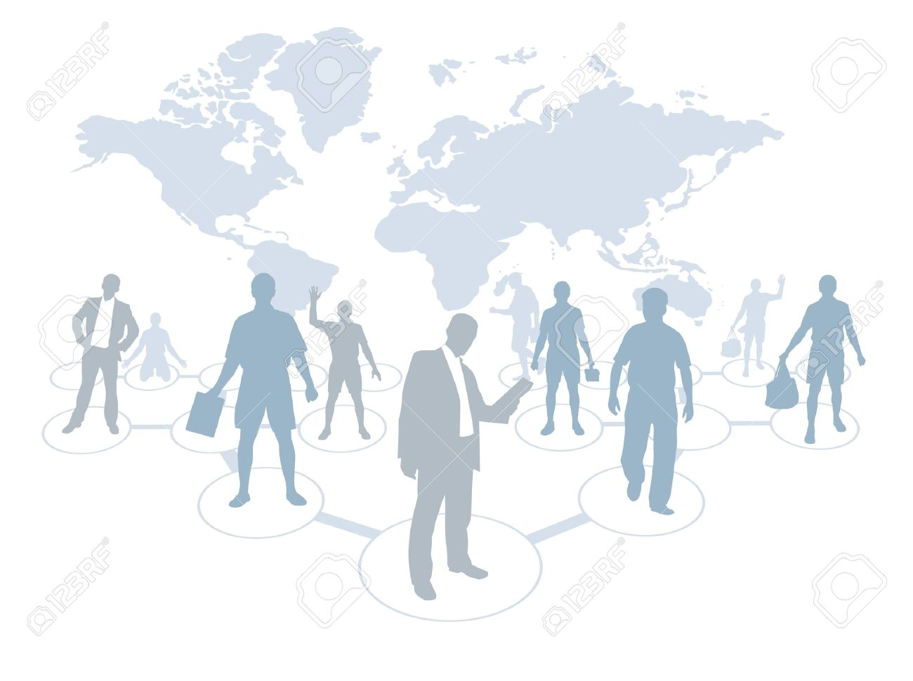 Business People With World Map Background Royalty Free Cliparts