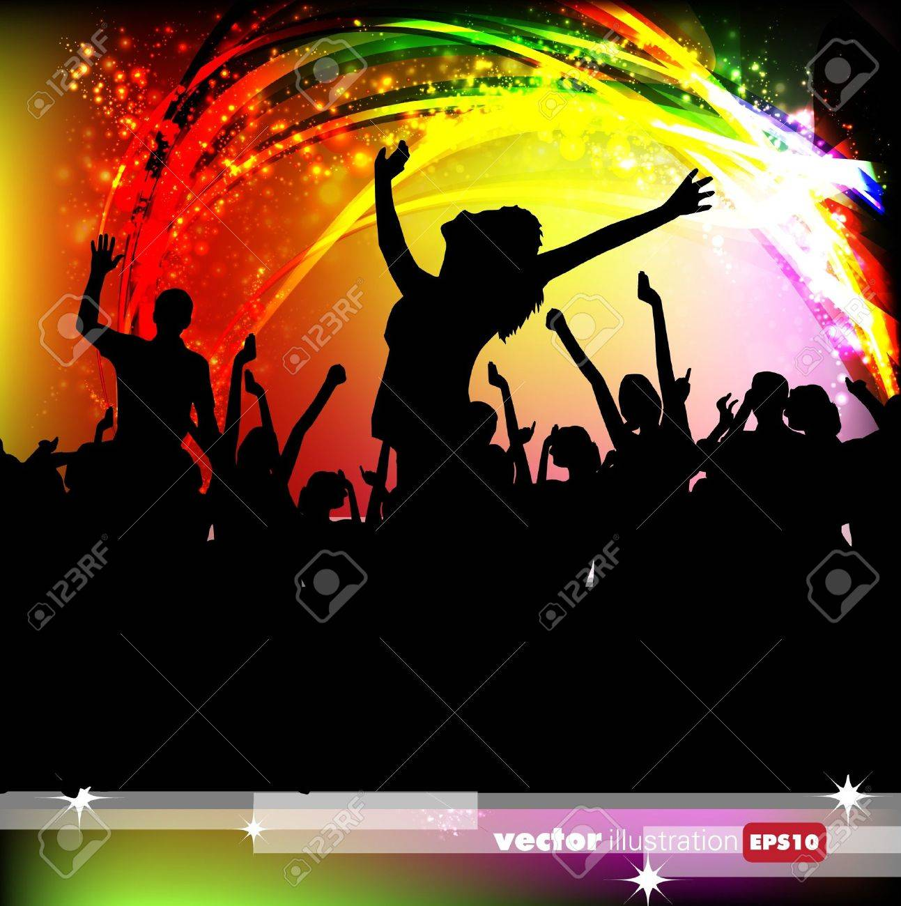 A crowd of people. Music event illustration. Stock Vector - 10733283