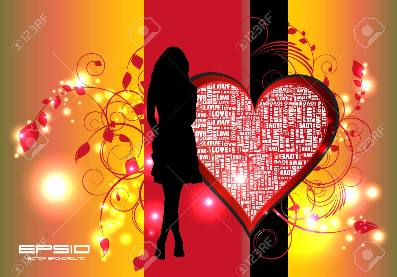 Girl with heart Stock Vector - 11040024