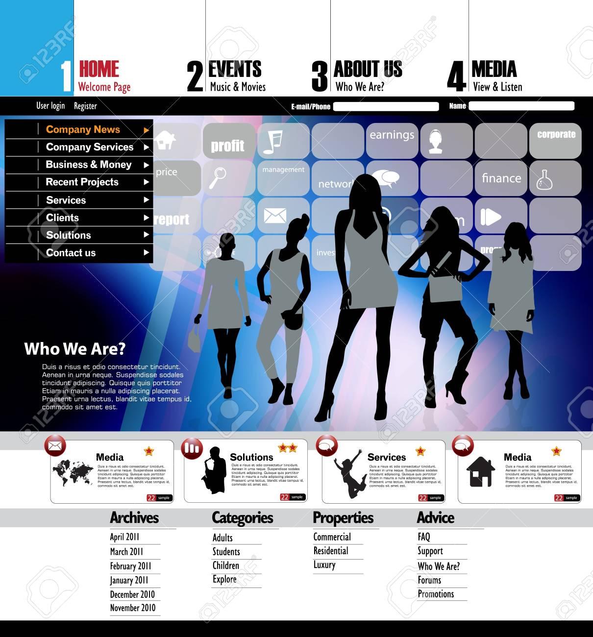 Vector editable website template design Stock Vector - 13041832