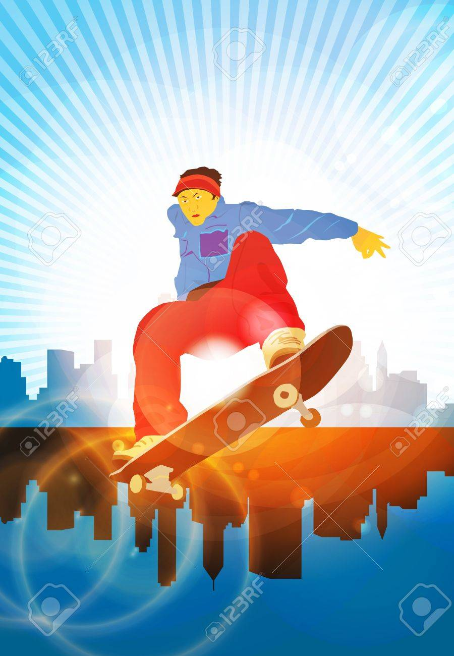 Skateboarding background Stock Vector - 13113915